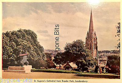 St Eugene's Cathedral from Brooke Park Londonderry Postcard Derry Ireland..