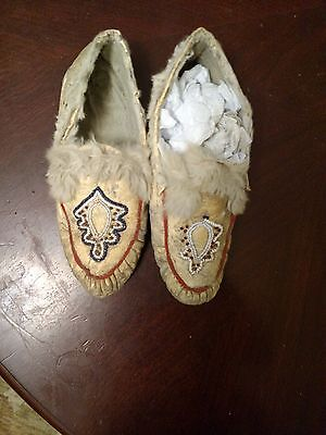 Antique Indian Beaded Athabascan Moccasins Native American Beaded Moccasins