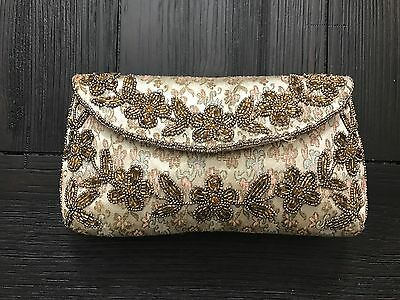 Vintage Beaded Evening Bag Clutch Purse Made In France Wedding Holiday