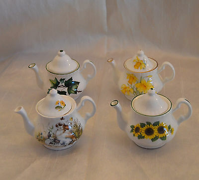 4 Vintage Miniature Collectable China Teapots Daffodils Sunflowers Rabbits VGC
