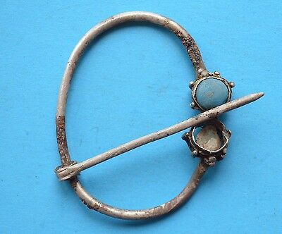 Ancient Viking Period Silver Brooch Fibula with gemstone