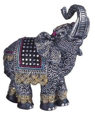 "5.5"" Black Thai Elephant With Trunk Raised Collectible Figurine Statue Animal"