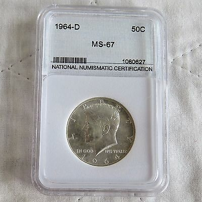 Usa 1964 D Silver Half Dollar Slabbed And Graded By Nnc Ms67