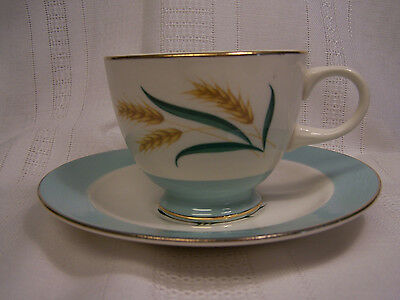 Viking Cup and Saucer International D.S Aqua Golden Wheat Gold Trim Mid-Century
