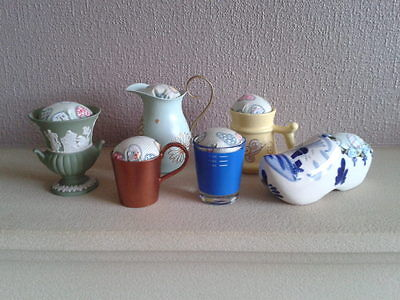 6 Up-cycled Assorted Vintage Pin Cushions