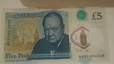 AA 01 SERIES. BANK OF ENGLAND polymer 5 POUND note. NUM AA01