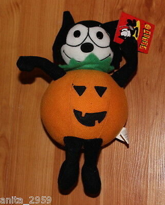 "7"" Licensed FELIX The CAT PUMPKIN A&A Plush Toy #Y08035 New With Tags RARE"