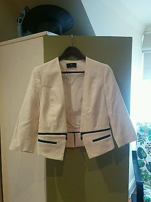 White CUE jacket size 10 black accents zip cropped women's