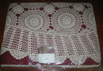 Vintage Crocheted Lace Tablecloth ~ Cotton ~ Cream ~ Round ~ New