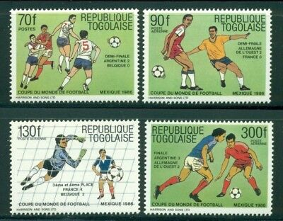 Togo Scott #1394-1397 MNH World Cup 1986 Mexico Soccer OVPT Winners CV$4+