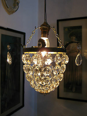 VINTAGE FRENCH CRYSTAL BAG CHANDELIER SMALL 20cm DROP LAMPSHADE