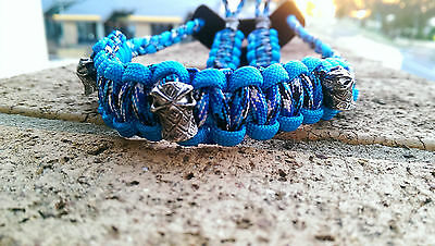 Archery Bow Sling 550 Paracord Blue Snake & SkyBlue  + 2 zipper pulls & leather