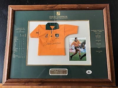David Campese Signed And Framed Rugby Sport Memorabilia 100th Test