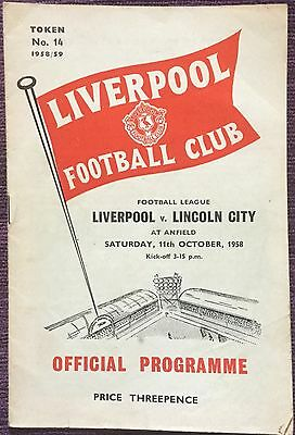 Liverpool V Lincoln City 1958 Programme From Anfield England