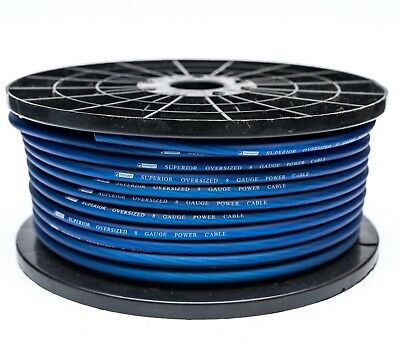 8 Awg Gauge 10Mm² Blue Power Cable Audio Per Metre High Quality
