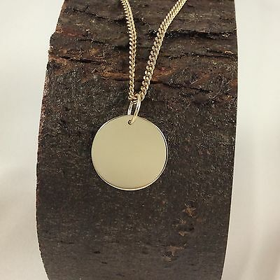 Solid 9ct Yellow Gold 16mm Disc Pendant  Polished Finish Engravable