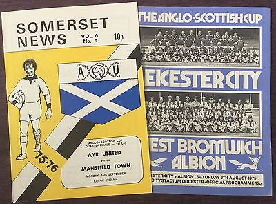 Anglo Scottish Cup Football Programmes 1975/76 Leicester West Brom Ayr 1/4 Final