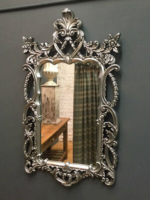 Large Silver Ornate Baroque Style Bevelled Wall Mirror Height 122 cm