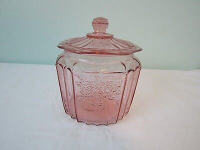 Anchor Hocking Pink Depression Glass Mayfair Open Rose Cracker Cookie Jar w/Lid
