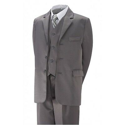 5 piece boys BLACK or GREY  wedding party cheap suit size 6 yrs  /sizes 2-12yrs