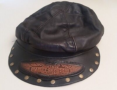 Vintage Harley-Davidson Motorcycles Brown Leather Hat / Cap