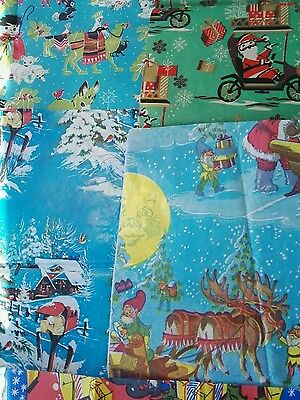 Unique Vintage Christmas Wrapping Paper 1970's 5 full sheets
