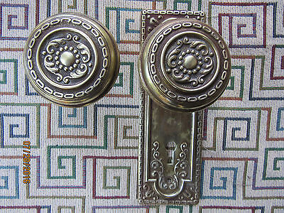 Vintage Set Brass Door Knobs With Back Plate Circa 1920