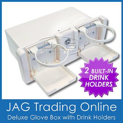 WHITE DELUXE RECESSED STORAGE GLOVE BOX WITH DRINK HOLDERS & LOCK - Caravan/Boat