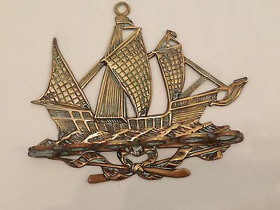 Antique Brass Galleon Ship Pipe Display Holder 6 Hole Rack Wall Hanging