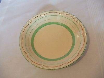 """Clarice Cliff 8"""" bowl cream and gold with green rim Liberty pattern?"""