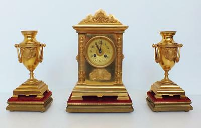 Exceptional Antique 19thc 8 Day French Bronze Ormolu Cube Mantel Clock Set