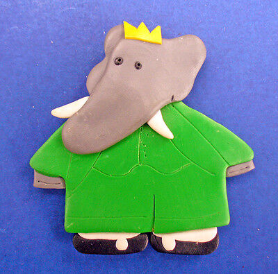 Buy3/Get1FREE~BABAR ELEPHANT Pin Clay Art Type Vintage Jewelry Child's Brooch