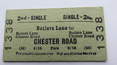 Railway ticket, Butlers Lane to Chester Road. 1950s-60s(date unclear).