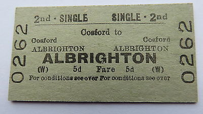 Railway ticket, Cosford to Albrighton. Issued 1961.