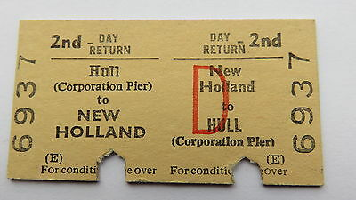 Railway ticket, Hull( Corp. Pier) to New Holland. Issued 1979. Route closed 1981
