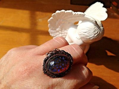 Fire Opal Ring in Copper Soldered Filigree Stunning Victorian Huge SALE