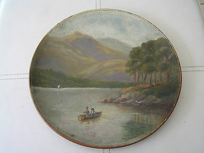 Hand Painted Watcombe Pottery Wall Plaque Fishing Anglers Highland Scene