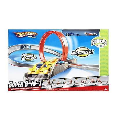 Hot Wheels Track Super 6 in 1 Race Set Motorised 2 cars included