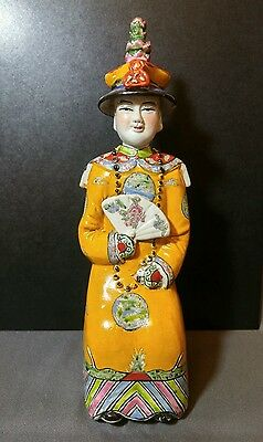 Antique Chinese Famille Rose Qing Dynasty Seated Emperor Statue / Figure