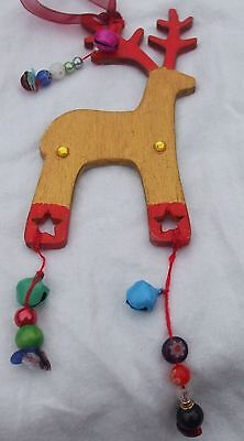 Christmas Reindeer 4 x 2 inch painted gold & Red,  bells, beads sequins by Anita