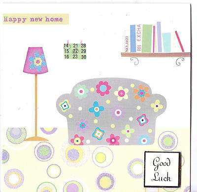 Larger Square Handmade Cutie Good Luck New Home Card