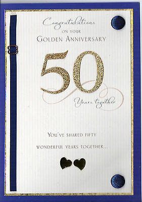Classy A5 Glitter Handmade Congratulation On Your Golden Wedding Anniversary