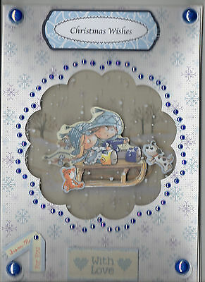 Pretty A5 Acetate Front Handmade Kids Themed Decoupaged Open Christmas Card