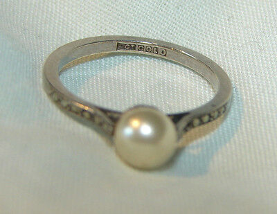 9ct white gold pearl + marcasite thin ring size M dainty 30s ?