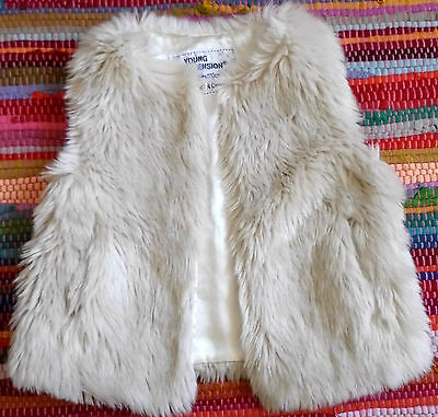 Girls warm winter faux fur shaggy jacket gilet gillet body warmer age 5 6 years