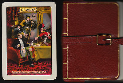 Vintage Dewar's Whisky playing cards in lovely leather book 1920's