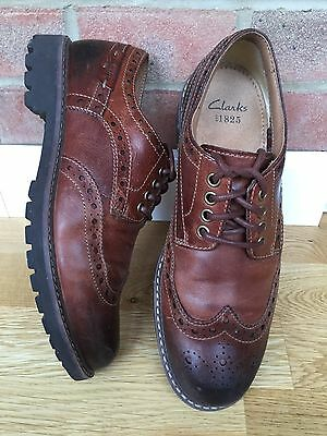 Clarks Montacute Wing Dark Tan Leather Casual Lace Up Brogue Shoe - Used Once