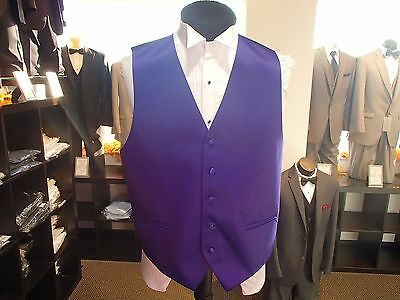 "Men's color Purple Solid Satin style ""Cardi Collection"" Formal Tuxedo Vest"