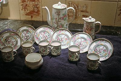 Aynsley Indian tree design 6 coffee cans, saucers, 1 sugar, 1 milk and 1 pot