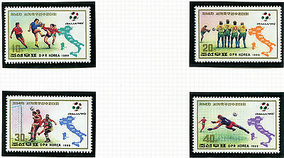 Korea 1990 Italy Football World Cup Set Of All 4 Commemorative Stamps 1989 Mnh